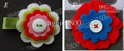 "2"" Baby flower felt hair bows hair clip baby Girls' Hair Accessories felt hair clips hairbows 120 pieces /lotB002(China (Mainland))"