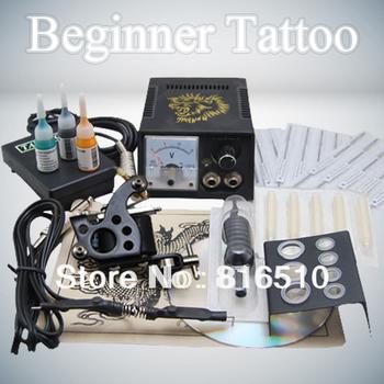 Complete Tattoo Beginner Starter Machine Gun Color Inks Power Supply Needles Set