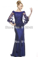 2014 Elegant Style EG-472 Scalloped Trumpet Appliques Beaded Made-Flowers With Bolero Evening Dress Floor Length