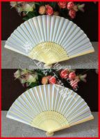 Free shipping 40pcs/lot white wedding silk fan gift favor