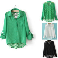 New Sexy Women's Long Sleeve back lace chiffon Shirts Hollow Out Lady Blouses,1047