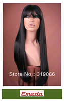 New 2014 Fahion Fast shipping straight  Christmas 100% Human Indian remy hair full lace wigs with bangs