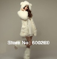Free shipping cure bear ears hooded wool coat for women #8777
