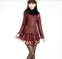 2013 New Fashion Ladies' PU leather Winter Coat Removable Designer Leather Down Jacket Women Free Shipping