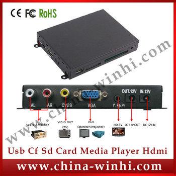 Real Supplier metal shell indoor USB SD CF VGA YPbPr HDMI multimedia media player box