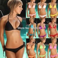 Free Shipping Sexy Bikini Bra + Panties Set Halter Bikini Swimwear & Swimsuit Beach Bikini Dress Sexy Split Beachwear B1