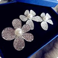 Full Clear Crystal Rhinestone Flower Bridal Pageant Wedding Prom Party Hair Barrettes Headpiece Hair Accesssory For Sale