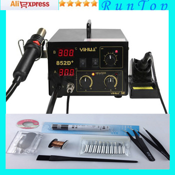 Freeshipping  220v 700w YIHUA 852D+ Hot Air Gun Digital Soldering Iron SMD Rework Station Better than Saike  CE Pass