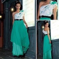 Dorisqueen 2015 design woman's green shine one shoulder ruffles formal dress gown butterfly party prom evening dress gown 30751