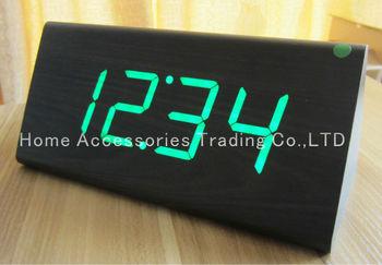 Free shipping dicount wooden table clocks, wood LED Digital Alarm desk Clock