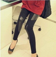 2014 new maternity leather patchwork leggings fashion elastic skinny tight pants fall adjustable belly pants for pregnant women
