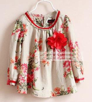 FREE SHIPPING!  2013 new arrival kids blouse Girls cotton retro large  flower doll long sleeve shirt very beautiful 6pcs/lot