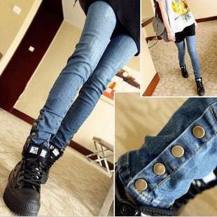 Autumn winter adjustable maternity skinny rivet jeans pregant woman warm belly pants