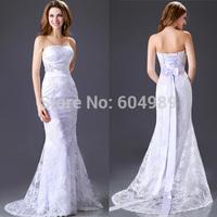 Grace Karin Elegant Satin White Strapless Beach Lace Wedding Dress Bridal Gown 2014 CL2528