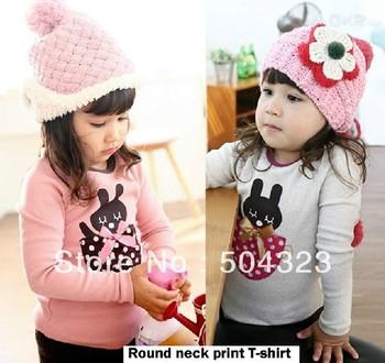 Free Shipping 5pcs/lot Kids boys KOREA design print T shirts kids boys clothes fashion bear T shirt spring long sleeve clothing