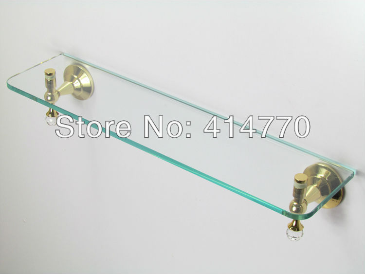 bathroom accessories golden plated glass shelf with built-in crystal single tier wall shelf bathroom shelf(China (Mainland))