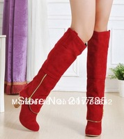 Hot sale New arrival fashion ladies sexy Knee high boots zipper drop ship wholesale free shipping 1074 big size 34-43
