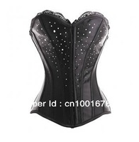 free shipping hot selling wholesale pvc boned sexy black satin overbust corset top and bustier with diamond decoration