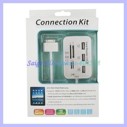 USB card reader Camera Connection Combo kit+ usb hub All in one for iPad 2 3 for iphone 4 4s(China (Mainland))