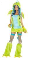 ML5073 Soft Neon green faux fur Cosplay Costume Cute  Sexy  Women Dress Dragon Costume