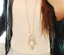 New mix order Fashion jewelry Cute big opal owl pendant necklace long chain N821