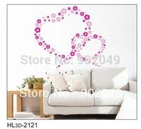3pcs/lots 50x70cm modern wallpaper wall coverings love heart removable romantic love poem flowers KW- HL3d-2121