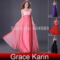Stunning Grace Karin Vestido Black/Red/Pink Chiffon Sequins Beaded Evening Gowns Long Formal Evening Dress Prom Party Dress 4104