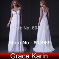 Free Shipping Grace Karin Sexy Strap Chiffon White/Ivory Formal Evening Dress Beach Bandage Floor length Women Prom Dress CL3554
