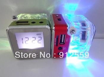 100pcs/lot Wholeslae Digital mini portable NiZHi TT029 music speaker with FM radio  Mirco SD card reader LED Screen LED Lights