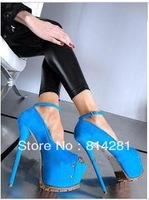 Nice 16cm heels sky blue high heel peep toe shoes women sexy platform shoes