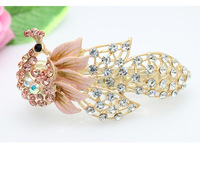 Korean Style Pinch Cock Peacock 18KGP Alloy With Rhinestone Hair Clip/Top Clip For Elegance Lady Free Shipping
