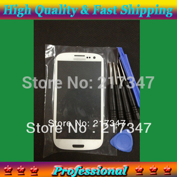 Replacement White Front Glass Outer LCD Lens Screen Cover for Samsung Galaxy S 3 III i9300 Free Tools 9300 Low Price