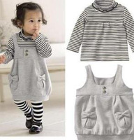 Baby girl suit/ Striped shirt+ suspender skirt/New arrive 2013