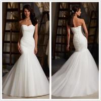 New Design LP-890  Elegant Mermaid Sweetheart Pleat Organza White/Ivory  Wedding Dress vestido de casamento