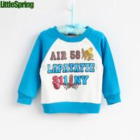 XLS LittleSpring Retail ! fashion high quality Children's t-shirt long sleeve letter tops number children t shirt