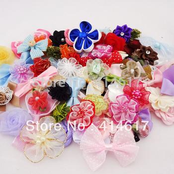 50pcs Ribbon bow flowers appliquest craft lots mix A087