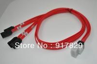 2Pcs/Lot Free shipping L=1.0m SFF-8087 (MINI SAS 36Pin)  to 4 SATA 7Pin for HDD Hard Drive Splitter red cable