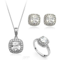Fashion Jewelry 18K Gold Platinum Plated Noble Zircon Crystal Simulated Diamonds Necklaces Rings Earrings Wedding Jewelry Sets