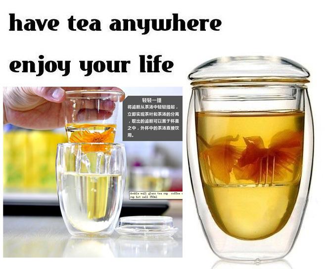 Presentes da novidade 2sets/lot parede dupla copo de chá coador 350ml, copo de café, chá de vidro com tampa de copos e infuser, free ship