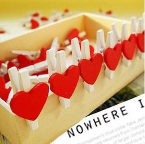 Love heart small wooden clip/Memo Clip/Letters clip/office accessory/Fashion Gift/Wholesale