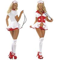 Free shipping ML5277 Fabulous Sexy Cute V-deep Nurse Costume for women