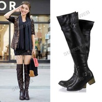 Fashion Women's Metal Buckle PU Leather Over The Knee High Flat Boots Shoes free shipping 9509