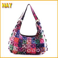 2014 New Arrival Bohemia 100% Genuine Leather Woman Bags Fashion Flower Handbags Ladies Shoulder Bag M107