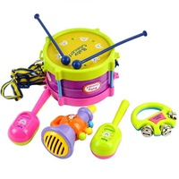 New 5pcs Roll Drum Musical Instruments Band Kit Kids Children Toy Gift Set free shipping 8840