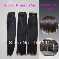 "Hot Sale!!  Free shipping for  EUB!!  all hair in same direction  12""-28""  100% Brazilian virgin hair extensions 50g/pc  1pc/lot"