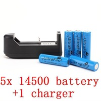 1 charger+5PCS/LOT ultrafire  AA 14500 800mAH 3.7V Li-lon Rechargeable Batteries for LED Flashlight, free shipping