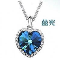 Wholesale 12pcs/Lots Heart of Ocean Titanic Blue Crystal Bijoux Charms Pendant Necklace For Women D2R4