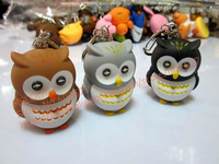 HOT LED Owl Shaped keychain with Sound keychain light ABS body with batteries included Free shipping 5pcs / lot