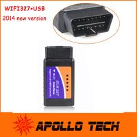 WIFI327 WIFI USB OBD2 EOBD Scan Tool WIFI ELM327 Black 327 diagnostic scanner tool