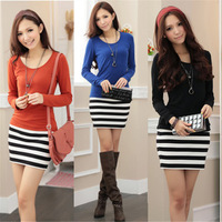 Women's 2014 Summer Casual Striped Patchwork Sheath Hip Pack Long Sleeve Knitted Dress,Spring Bottom Mini Dresses For Women